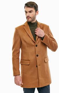 Полушерстяное коричневое пальто на пуговицах Mexx