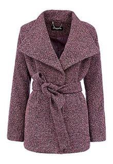 Короткое полушерстяное пальто с поясом La Reine Blanche