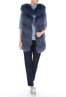 Жилет из меха козлика с отделкой кожей Virtuale Fur Collection