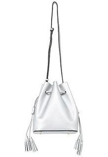 Серебристая кожаная сумка-мешок La Reine Blanche