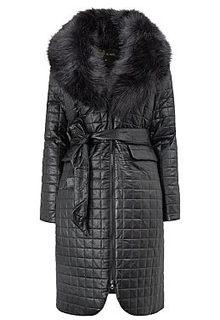 Утепленное пальто из экокожи с отделкой искусственным мехом Acasta