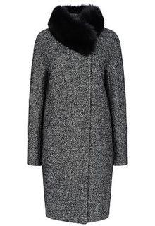 Утепленное пальто с отделкой мехом песца Pompa