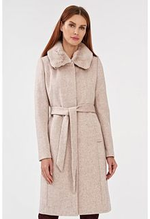 Полушерстяное пальто с отделкой мехом кролика La Reine Blanche