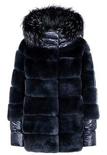 Комбинированная шуба из меха кролика со съемным капюшоном Virtuale Fur Collection