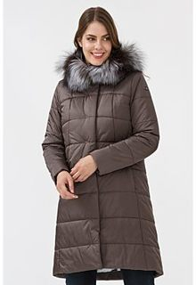 Утепленное пальто с отделкой мехом лисы Laura Bianca