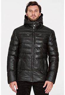 Утепленная кожаная куртка с капюшоном Urban Fashion for men