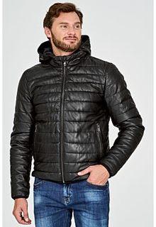 Утепленная кожаная куртка с отделкой трикотажем Urban Fashion for men