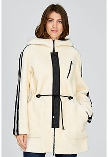 Шуба из вязаной овчины с капюшоном Virtuale Fur Collection