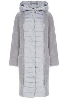 Облегченная комбинированная шуба из овчины с капюшоном Virtuale Fur Collection