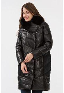 Утепленное кожаное пальто с отделкой из песца La Reine Blanche