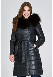 Утепленное кожаное пальто с отделкой мехом енота La Reine Blanche