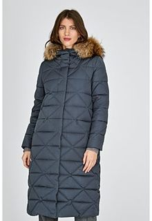 Пальто на натуральном пуху с отделкой мехом енота La Reine Blanche
