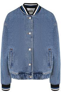 Джинсовая куртка с контрастным воротником и манжетами MSGM