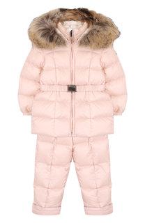 Комплект из пуховой куртки и комбинезона на подтяжках Moncler Enfant