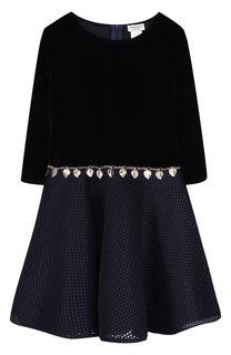 Платье из хлопка с перфорированной юбкой и декоративным поясом David Charles