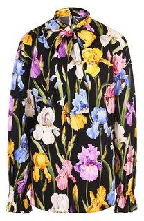 Шелковая блуза с принтом и воротником аскот Dolce & Gabbana