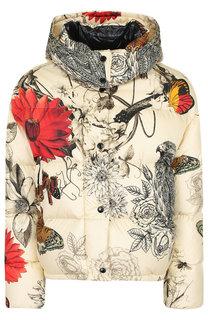 Стеганая куртка с капюшоном и принтом Moncler