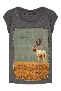 Серая футболка с фотопринтом Elk KO Samui
