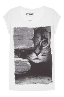 Белая футболка с фотопринтом Feline KO Samui