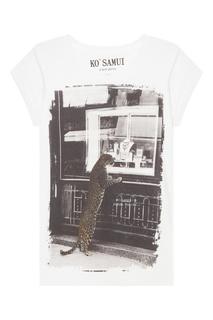 Белая футболка с винтажным фотопринтом Leopard KO Samui