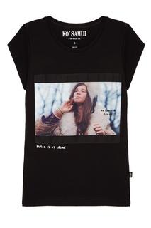 Черная футболка с фотопринтом Cry baby — Janis Joplin KO Samui