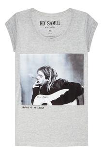 Серая футболка с фотопринтом Trouper — Kurt Kobain