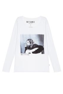 Белый лонгслив с фотопринтом Trouper — Kurt Kobain
