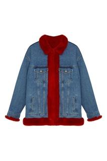 Джинсовая куртка на меху с вышивкой дракона Milangel