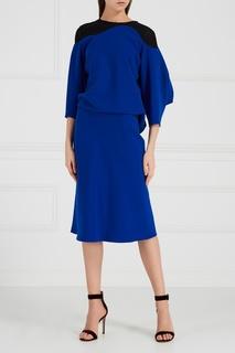 Синее платье с контрастной деталью Chapurin