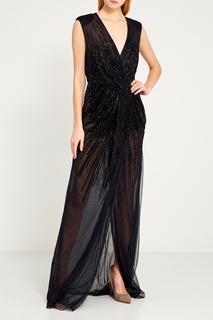 Платье с блестящей вышивкой Elisabetta Franchi