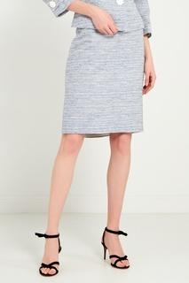 Голубая меланжевая юбка-мини Moskada