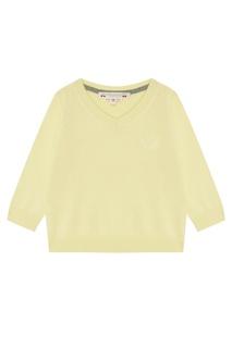 Желтый пуловер с логотипом Bonpoint
