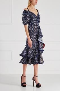 Платье с асимметричными воланами Erdem
