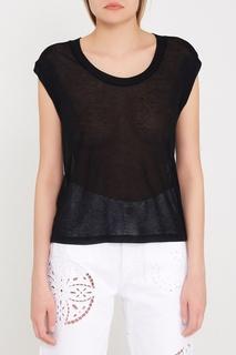 Черная футболка с шелком и кашемиром Alban Isabel Marant Etoile