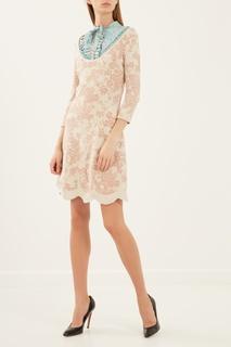 Бежевое платье с цветочным узором Elisabetta Franchi