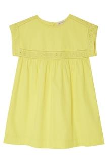 Желтое платье с отделкой Bonpoint