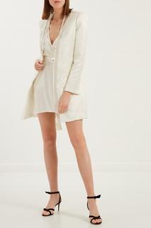 Комбинированное белое пальто Elisabetta Franchi