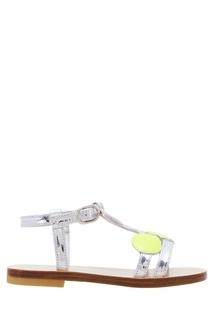 Серебристые сандалии с аппликацией Bonpoint
