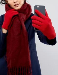 Красные перчатки с добавлением овечьей шерсти для сенсорного экрана Vincent Pradier - Красный