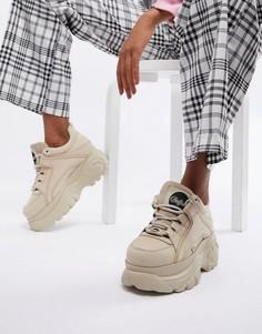 Низкие кроссовки кремового цвета на платформе Buffalo classic - Кремовый