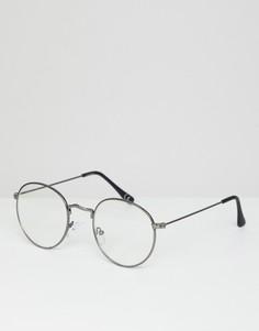 Круглые очки с прозрачными стеклами ASOS DESIGN - Серый