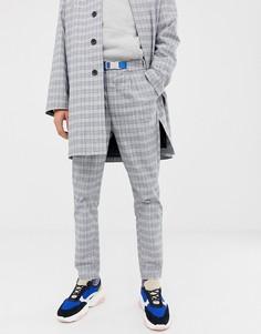 Зауженные брюки в клетку со складками ASOS WHITE - Серый