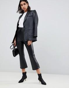 Кожаные расклешенные брюки премиум-качества ASOS DESIGN - Черный