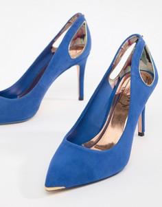 Замшевые туфли на высоком каблуке с заостренным носком Ted Baker - Синий