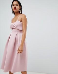 Платье миди для выпускного с кроп-топом ASOS DESIGN - Розовый