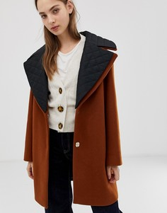 Пальто со стеганым воротником ASOS DESIGN - Коричневый