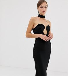 Облегающее платье-бандо миди с цепочкой на спине ASOS DESIGN - Черный