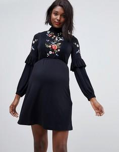 Свободное платье с высоким воротом и вышивкой ASOS DESIGN Maternity - Черный