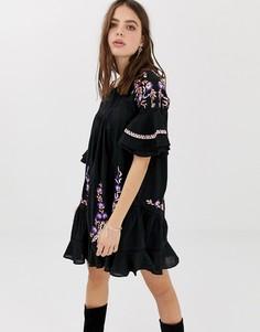 Платье-туника с вышивкой Free People Pavlo - Черный