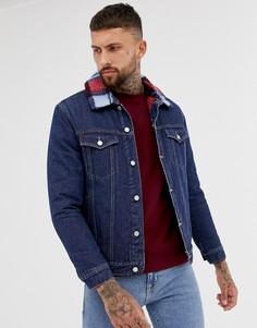 Синяя джинсовая куртка с подкладкой из искусственного меха boohooMAN - Синий